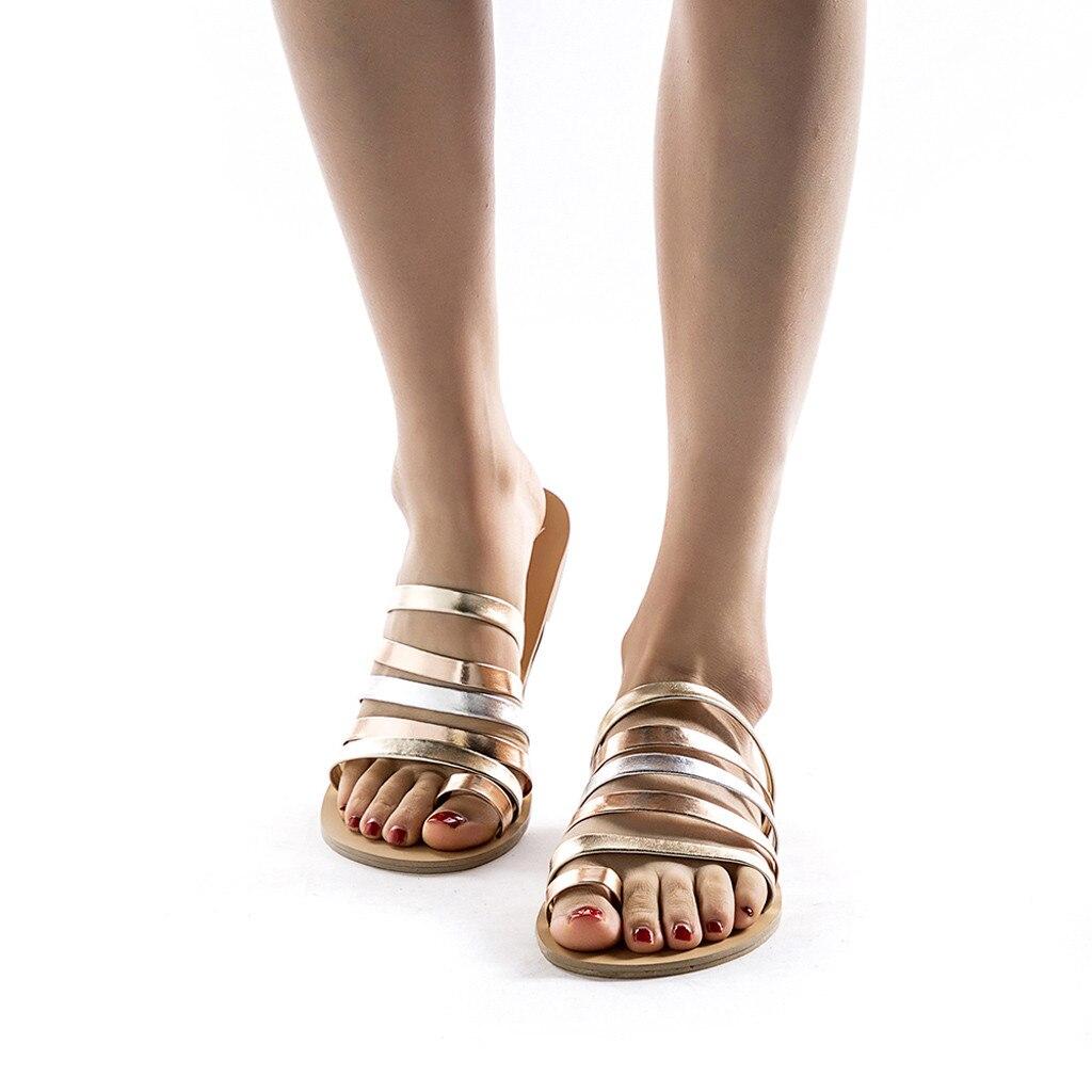 HTB18gW7LCzqK1RjSZFjq6zlCFXaw Women Flat Sandals Summer 2019 Gladiator Sandals Ladies Strap Slippers Roman Female Flip Flops Outdoor Casual Sandales Femme