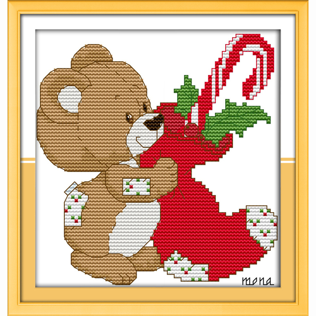 Little Bear Christmas Stocking Cartoon For Kids Room Top Grade