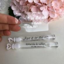 Etiquetas de burbuja para novia de plata, tubo personalizado, botellas, varita de burbuja, recuerdo personalizado, etiqueta adhesiva transparente (botella no incluida)