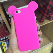 Cute Candy Colors Colorful 3D Soft Mickey Mouse Ear Silicone Cartoon Phone Case Cover for iphone7 7plus 5G 5S 6 6S 6plus
