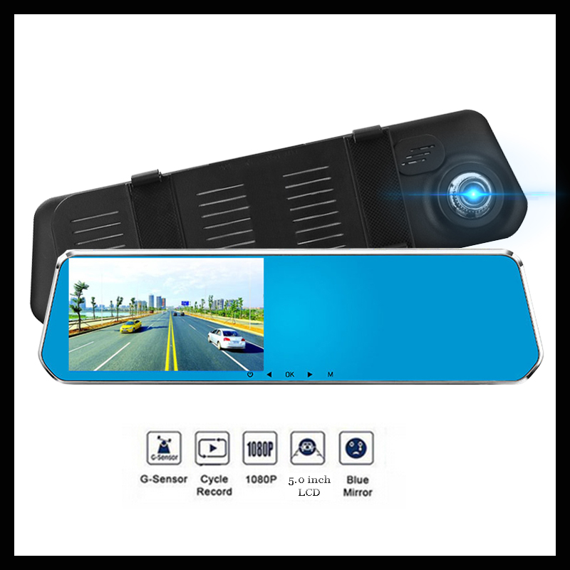 5 0 inch HD Rear View Mirror Car DVR Radar Detector 1080P Car Camera Recorder dash