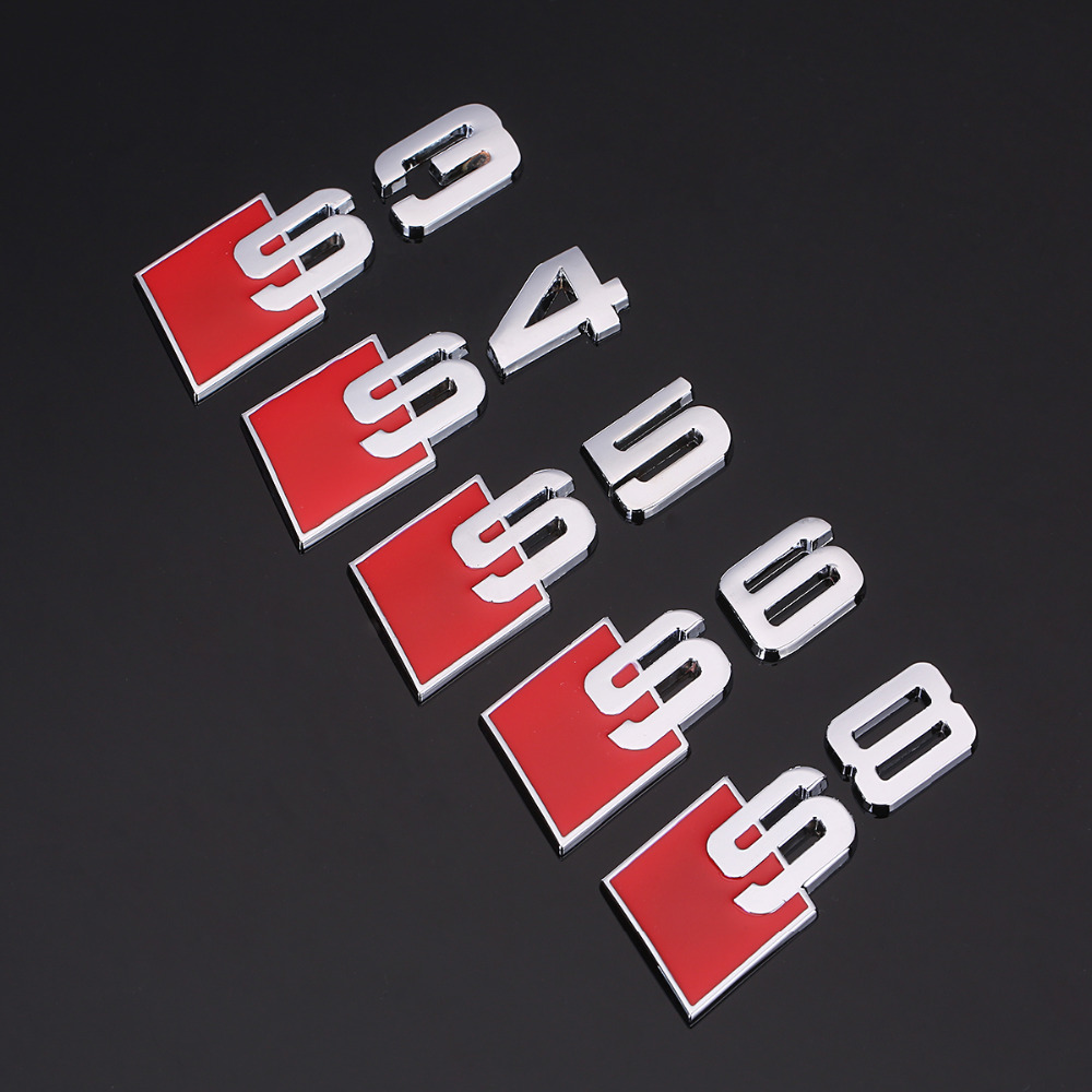 YawlooC 3D metal S S3 S4 S5 S6 S8 SLINE Car Tail Sticker Emblem Badge Logo car styling For Audi Q3 Q5 Q7 B5 B6 B8 C5 C6 1pcs 3d metal s5 car front grille adhesive emblem badge stickers accessories styling for audi a5 s5