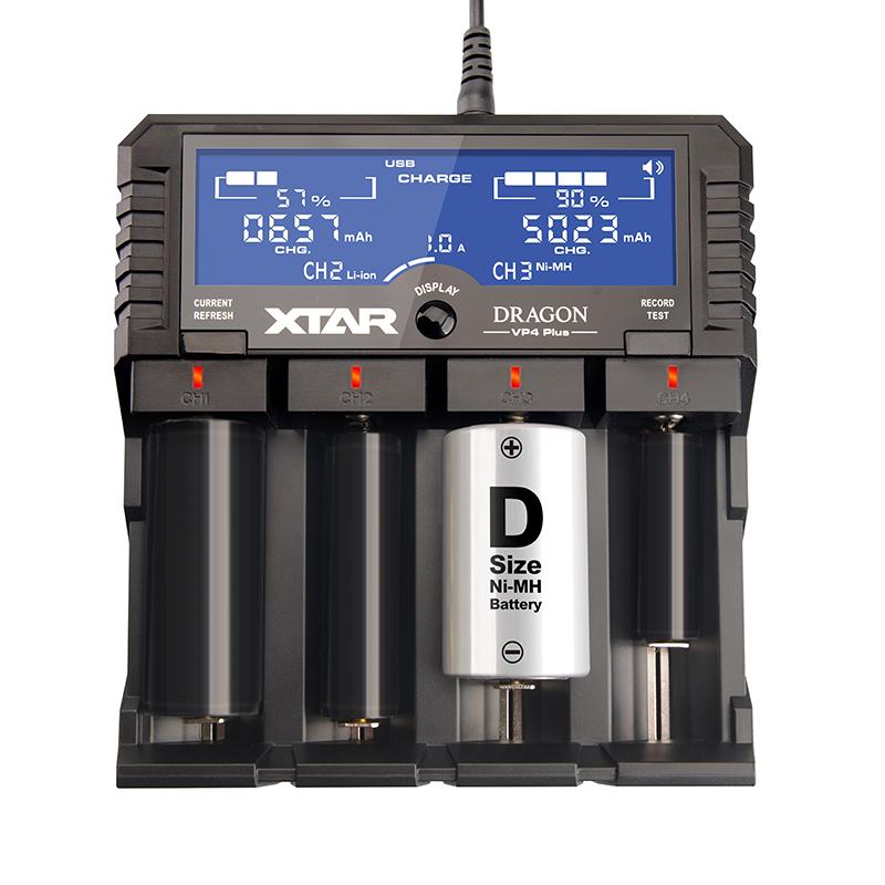 Prix pour D'origine XTAR DRAGON VP4 PLUS Smart Chargeur de Batterie Set avec Étui sondes Adaptateur et Chargeur De Voiture pour 18650 et Batterie etc