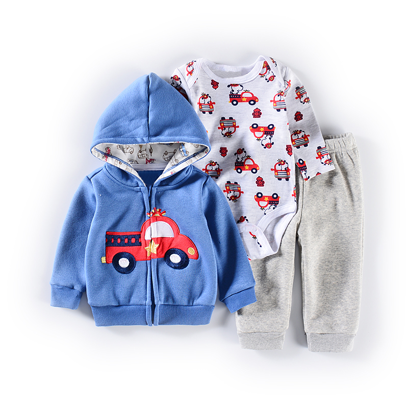 2019 Newborn Baby Boy Clothes Jacket + Hazer + Trousers Casual Baby Girl Clothing Suit Children Suit Tights Sweatpants 0-24M