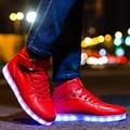 Мужчины СВЕТОДИОДНЫЕ Обувь Свет Повседневная Обувь Женщин и Мужчин Светодиодные Светящиеся Корзина USB Аккумуляторные СВЕТОДИОДНЫЕ Светящиеся Обувь для Взрослых 35-44 Унисекс