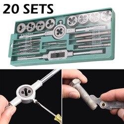 20 sztuk kran stalowy ze stopu i Die zestaw z małym kranu skręcone narzędzia ręczne i 1/16-1/2 Cal NC gwint wtyczki krany śruba ręczna krany