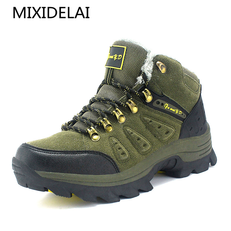 MIXIDELAI Big size New Men Boots for Men Winter Snow Boots Warm Fur&Plush Lace Up High Top Fashion Men Shoes Sneakers Boots