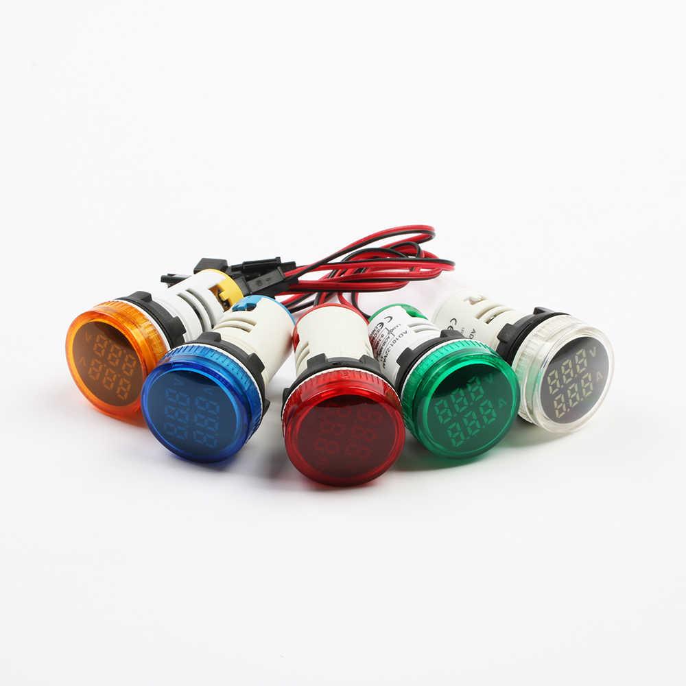 Мини-Цифровой Вольтметр Амперметр 22 мм AC 50-500 В 0-100A Ампер Вольт Напряжение тестер метр двойной СВЕТОДИОДНЫЙ Индикатор Пилот лампа