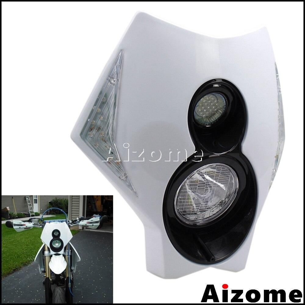 Carénage moto phare LED pour KTM Honda Suzuki CR RMZ DR KLX 250 CRF450 DRZ400 TTR TW XT Supermoto clignotants phare