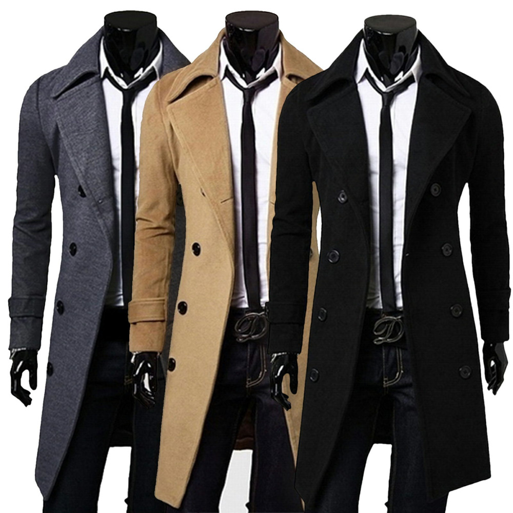 Men's Stylish Trench Coat Winter Jacket Double Breasted Overcoat ...