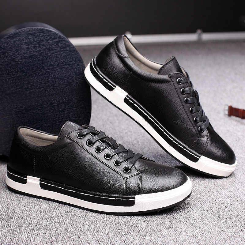 Beyler lüks deri ayakkabı erkekler Sneakers eğitmenler dantel-up düz sürüş ayakkabısı Zapatillas Hombre rahat