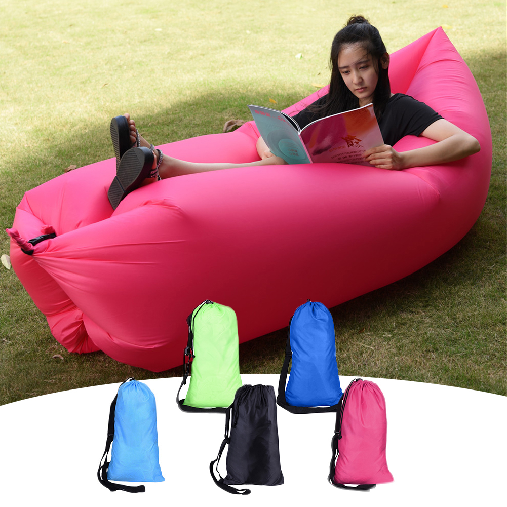 Portable inflatable air camping outdoor sleeping bag hiking lazy beach sofa lounger couch chair sleep laybag