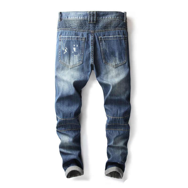 Balplein Брендовые мужские джинсы Синий цвет модные высокие уличные байкерские джинсы Homme Большие размеры 28-42 панк стиль хип хоп рваные джинсы мужские