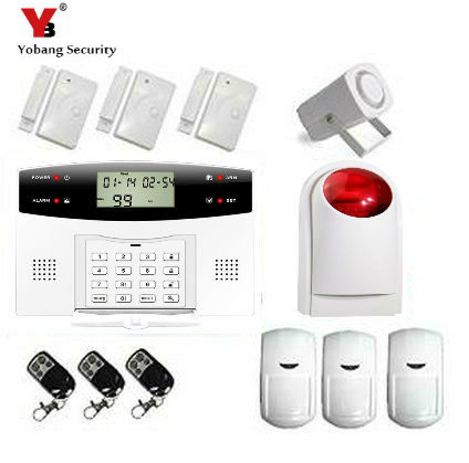 YoBang Security Wireless GSM Home Security Alarm System RussianEnglish Ltalian Voice Smoke Door PIR Alarm Sensor +Wireless Alarm