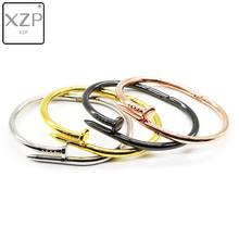 XZP Simple Open Nails Bracelet Silver Gold Gun Black Rose Gold Couple Bracelets Bangles Punk for Women Men Best Gift Jewelry(China)
