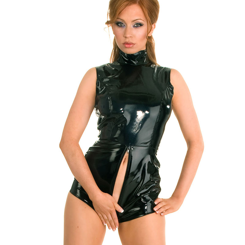 sexy short panty leather short catsuit,black women vinyl short rompers zipper back to crotch s,m,l,xl,xxl