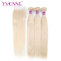 Yvonne Straight Brazilian Remy Hair Blond Bundles with Closure 3Pcs Color 613 Human Hair Bundles With Closure 4x4