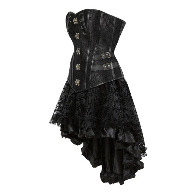 65a3241f4d9 Sapubonva Steampunk Corset Dress Burlesque Party Masquerade Gothic  Victorian Lace Leather Bustier Overbust Corset Skirt Sets