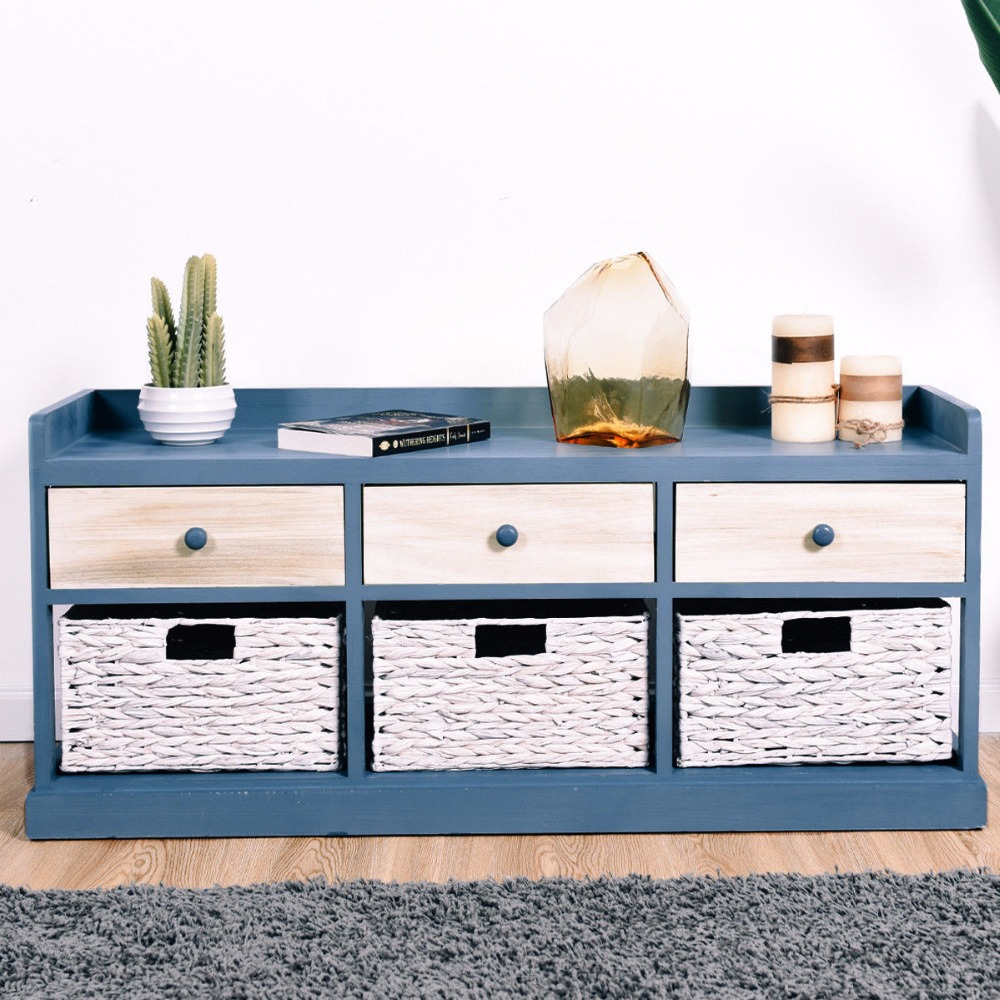 Giantex Table de chevet coffre armoire rangement organisateur w/3 tiroir en bois et 3 paniers nouveau mobilier de chambre HW57416