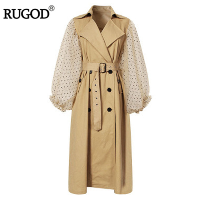RUGOD 2019 New Elegant Dot Mesh Patchwork Lantern Sleeve   Trench   Coat Women Belted Double Breasted Khaki Windbreaker Long Coat