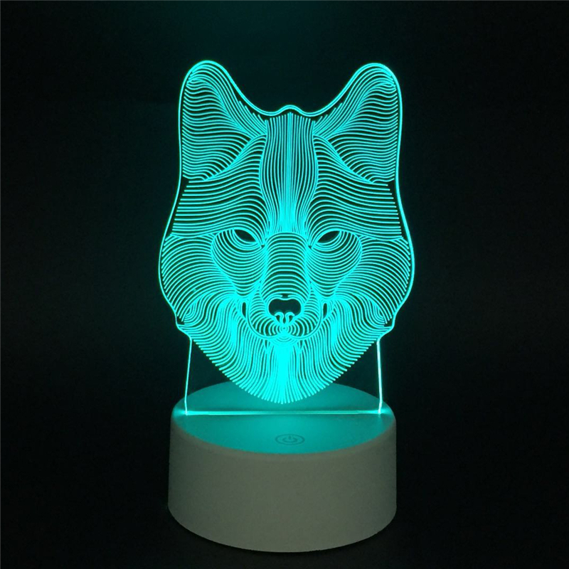 The Plant & Animal Totem LED 3D Illusion Night Light With Touch Switch Acrylic 7colors Auto Change Lamps For Deco Table Lamp RGB