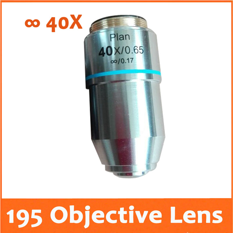 40X L=195 Infinity Plan Achromatic Objective Lens for Educational Lab Medical Bio-Microscope Biological Microscope 20.2mm 100x 195 professional educational plan achromatic bio microscope objective lens thread diameter 20 2mmx0 705 for medical science