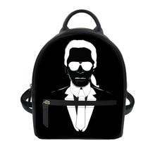 FORUDESIGNS Black PU Backpack Women Karl Lagerfelds Print Small Shoulder Bags for Girls Female School Bookbag Daypack Waterproof