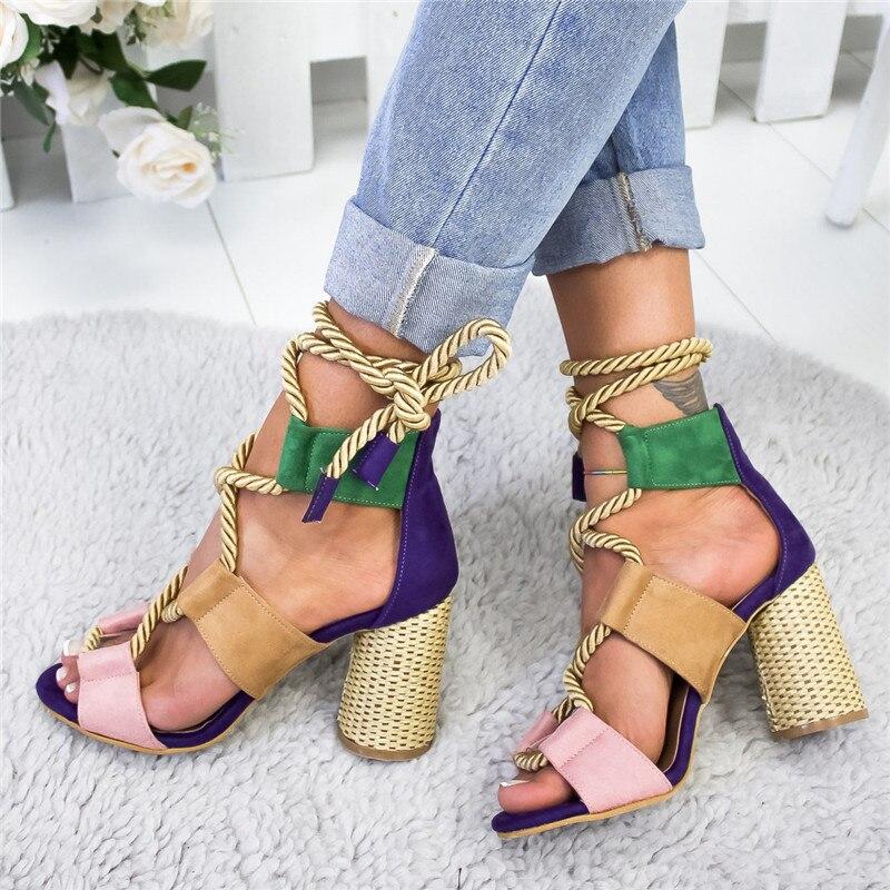 Women Sandals Shoes Pumps Hemp-Rope High-Heels Summer Ladies for Platform Fish-Mouth