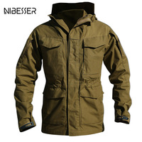 NIBESSER Brand Tactical Military Style Jacket Men Multi Pocket Zipper Jackets Long Sleeve Fitness Clothes Sportwear