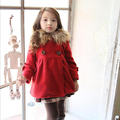 Buddinfant girls woolen coat 2016 winter children coat outerwear Baby girl's overcoat kids thick Fur hooded long jacket for 1-7T