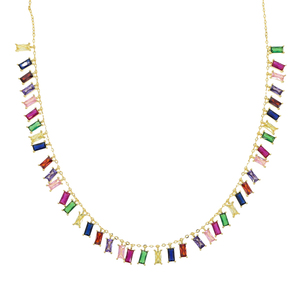 Image 3 - 2020 Gold plated colourful baguette rainbow CZ choker charm necklace for women lady party gift trendy gorgeous elegance jewelry