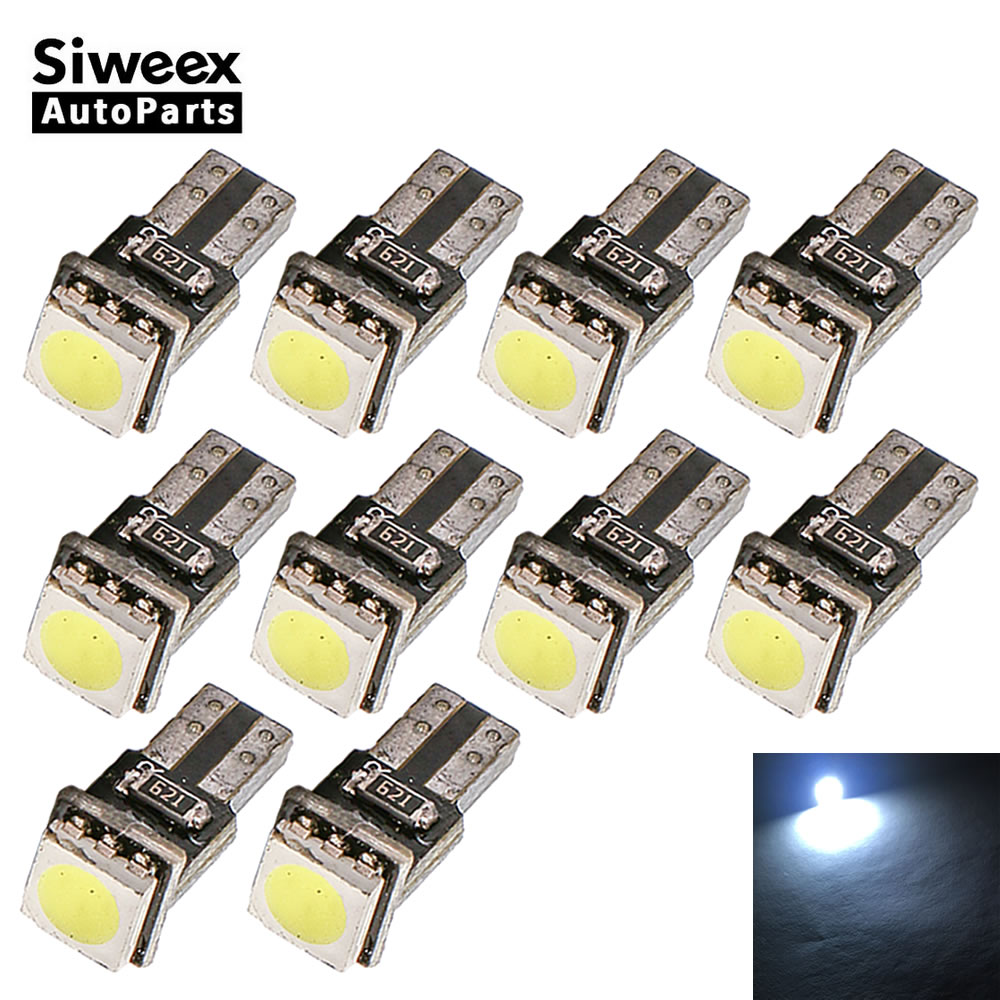 10PCS T5 1 SMD 5050 Auto LED Gauge Dashboard Bulbs License plate Lamp Car Canbus Error Free Instrument lights For DC 12V White 2 pairs canbus no error auto led license plate lamp car number lights for chevrolet canbus cruze all cars 09