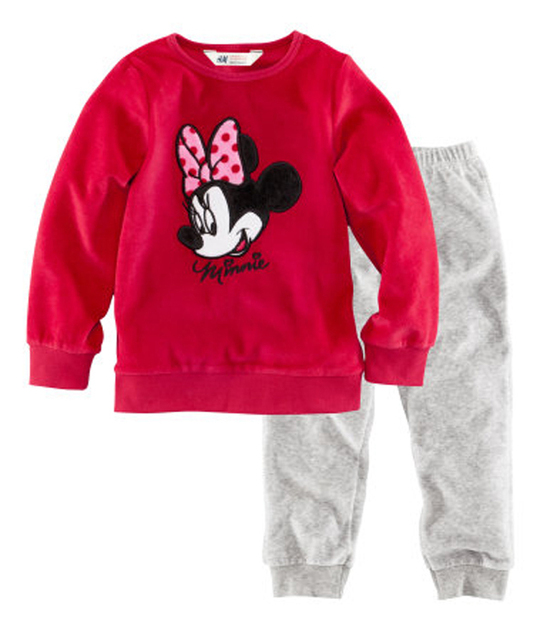Wholesale! Free shipping 6 sets/lot girl's comfortable Minnie homewear & pajamas, rose long sleeve shirt + long grey trousers