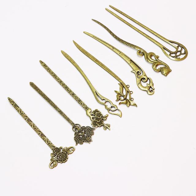 Bronze Vintage Hair Sticks Elegance Lady Hairpins