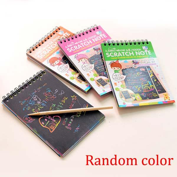 Kids Stationery Notebook Scratch Journal Wooden Stylus Scratch Paper Note Drawing Educational Toys Random Color @Z322 F