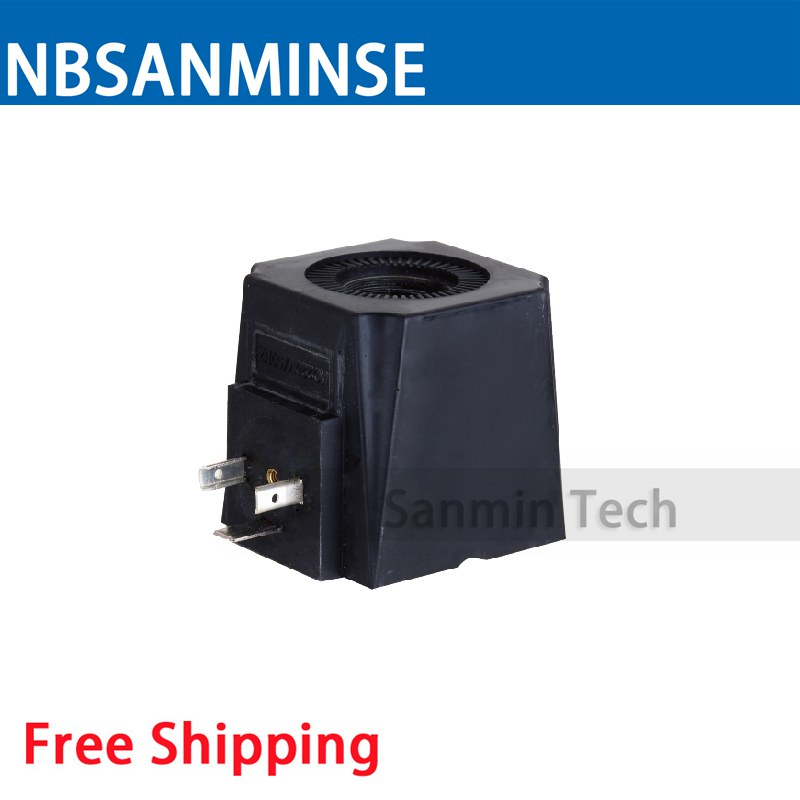 FMJ7 - 20YC Hydraulic Valve Coil Electrical Solenoid Valve Coil AC220V Voltage DI43650A Type Valve Coil Sanmin hydraulic solenoid valve coil inside diameter 20mm high 58mm dc24v