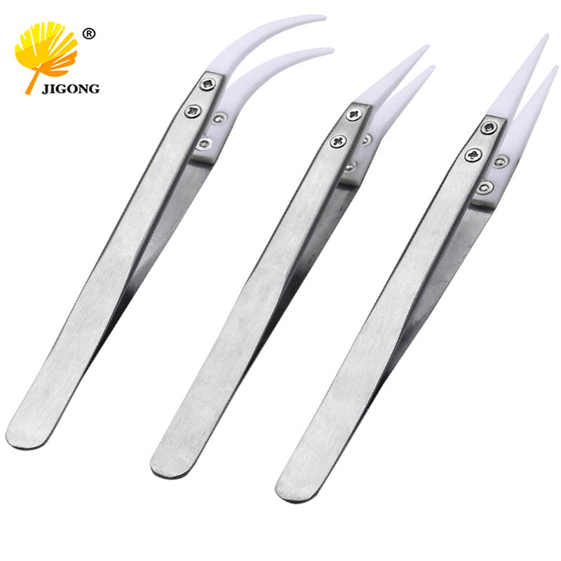 Ceramic Tweezers Heat Resistant Non Conductive Stainless Steel Body Multifunction Hand Tools Kits