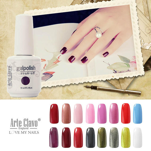 Arte Clavo 220 Colors 15ml Soak Off Gel Lacquer UV Top And Base Coat Led Nail Lamp Lacquer UV Gel Polish