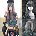 70cm Peacock Green Omber Harajuku Cosplay Wigs Long Wavy Curly Synthetic Woman Wig with Side Bang Pelucas Sinteticas