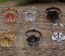 100pcs 16*6mm Flower Pad ring blank Cameo Tray,Bronze/Gold/Silver Ring setting,Handmade DIY Zakka jewelry Finding