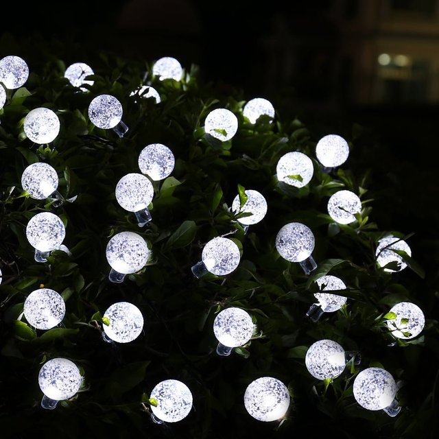 2pcs Solar String Lights, 8 Mode 20ft 30 LED Crystal Ball lights for Outdoor, Camping, Patio, Lawn, Landscape, Garden Home Party