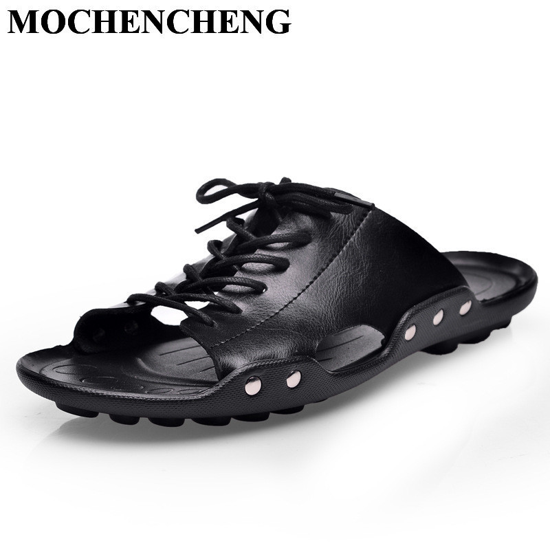 New Men Genuine Leather Sandals for Summer Slip-on Casual Shoes Retro Solid Waterproof Non-slip Hard-wearing Flat Leisure Shoes new arrival summer men sandals leisure solid waterproof male outdoors slippers pu leather fashion slip on sandals w1 35