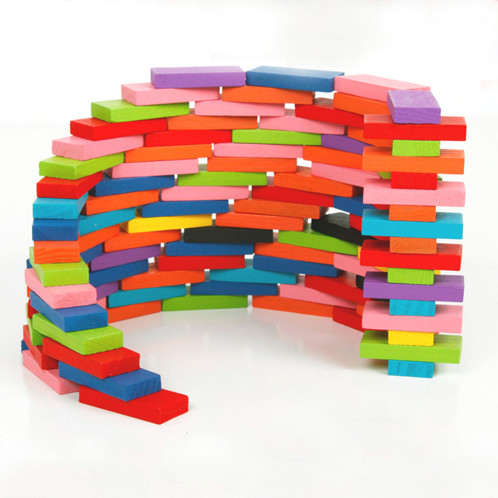 240pcs Colored Wooden Domino Set 39