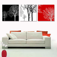 Large Oil Painting Black White Red Tree 3 Piece Modern Abstract Canvas Wall Art 100% Hand Painted (Unframed,Unstretched) 20x20