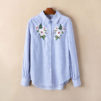 Cthink Fashion Flower Embroidered Cotton Women Blouse 2017 Full Sleeve Good Quality Striped Regular Floral Korean