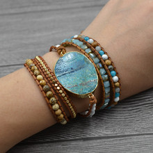 Newest 5X Leather Wrap Beaded Bracelet Ocean Blue Stone Bracelet Multilayer Boho Chic Jewelry Women Bohemian Bracelet chic faux leather adorn bracelet
