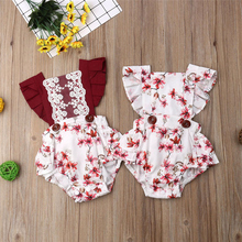 Emmababy Hot Sale arrival Newborn Baby Girl Clothes Cotton Blends Red Floral Rompers Short Sleeve Covered Button Square Collar