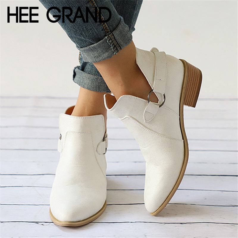 HEE GRAND Metal Decoration Women Winter Boots Slip On Women Causal Ankle Boots Platform Shoes Woman Creepers Rubber Flat XWX7057 hee grand pu patent leather autumn rubber women ankle boots casual solid creepers shoes woman fashion women flats shoes xwx6772