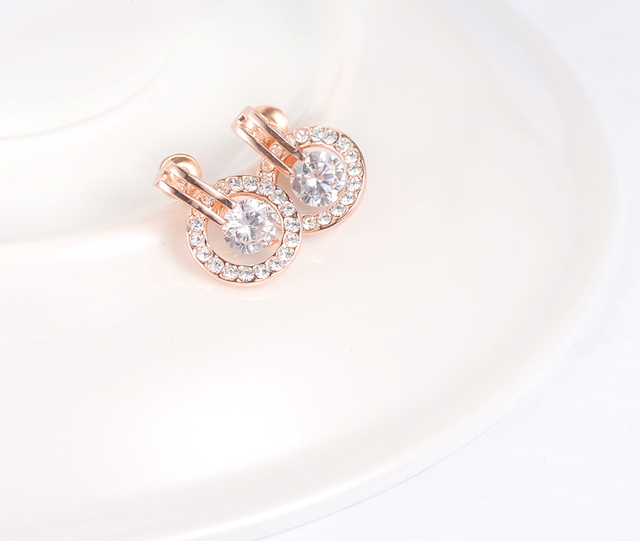 Rose Gold Plated Circle Stud Earrings with Austrian Crystals