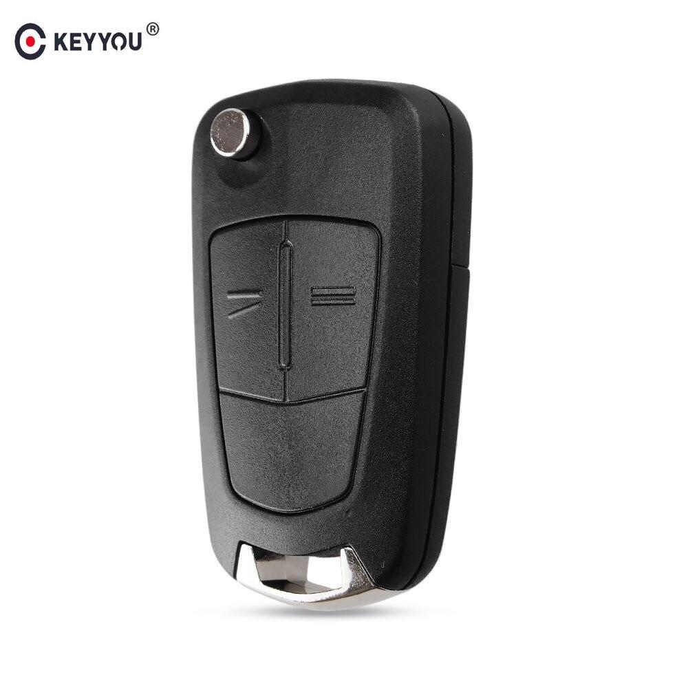 KEYYOU 2 Buttons Flip Folding Key Shell Case FOB For Opel Corsa D 2008